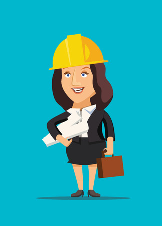 Architect female holding blueprint plans of construction site and building vector illustration Illustration