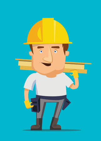 Strong construction worker building and golding iron bar on a real estate vector illustration
