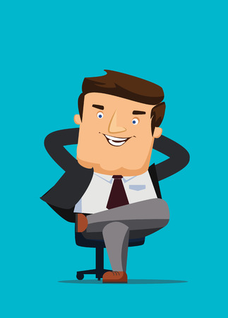 CEO sitting in a chair with big idea vector illustration Illustration