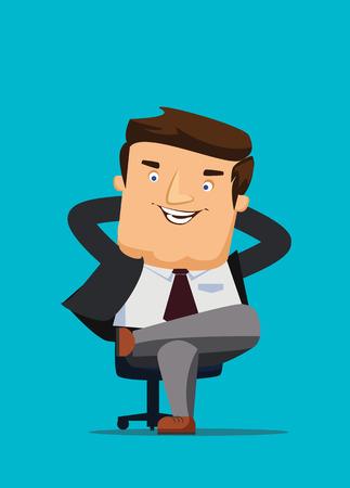 CEO zittend in een stoel met grote idee vector illustratie Stock Illustratie