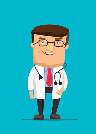 プロのきれいな医者イラストを着て聴診器とクリニックを支援  イラスト・ベクター素材