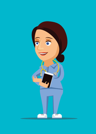 home care nurse: Nurse   friendly healthcare doctor illustration with stethoscope icon Illustration