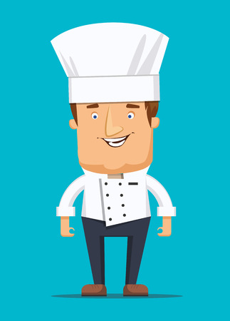 italian pizza: Chief chef cook in kitchen luxury restaurant in uniform illustration