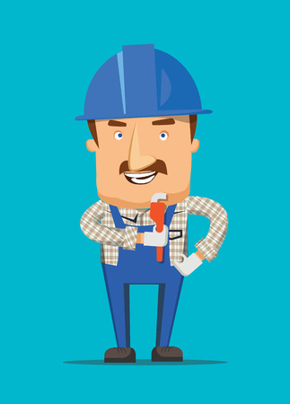 Construction engineer and human worker smiling on a job illustration Vector