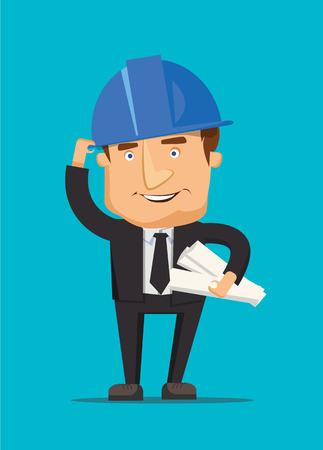 felügyelő: Chef építőmérnök férfi és építész dolgozó vezérigazgató építési tervet és sisak illusztráció Illusztráció