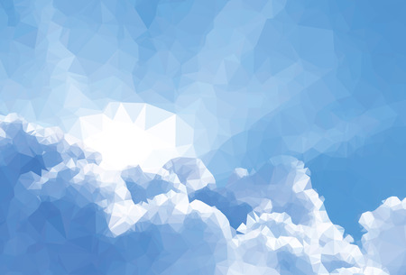 Background modern texture triangle geometry Sun over clouds Vector