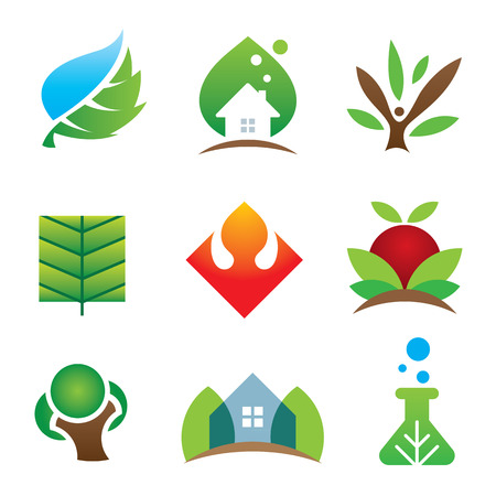 brighter: Green eco environment science creation for brighter future icon set Illustration