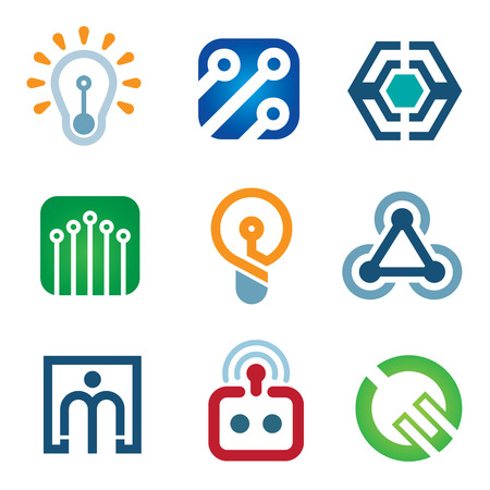 new age: New age of innovative technology modern society icon set