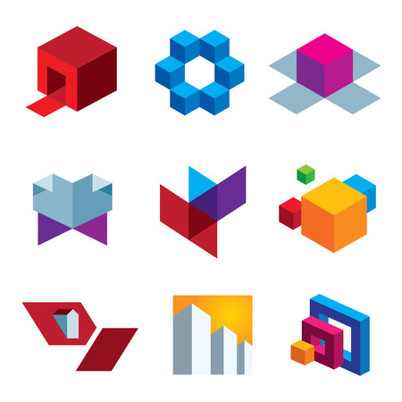 Human great imagination and box cube colorful creativity icon set