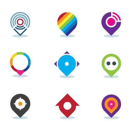 positioning: Modern world app global position locator community internet media icon Illustration