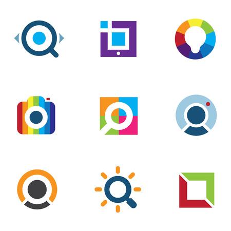 Explore fun colorful world social internet community network icon Illustration