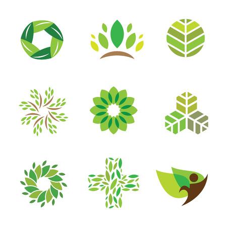 自然緑のエコ ヘルプ ケア健康的な生活のロゴのアイコンを  イラスト・ベクター素材