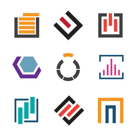 company people: Abstract creativity for professional logo company icon set Illustration