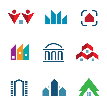 Real estate construction building in city community center logo icon Vector