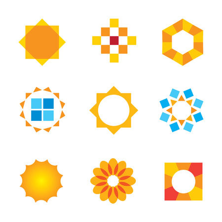 Beautiful estate decoration Sun symbol logo icon vector Vector