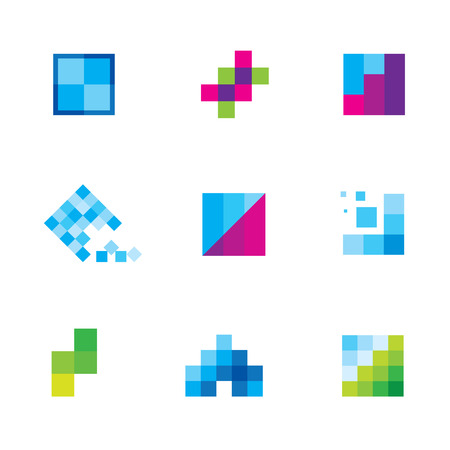 small business building: Being creative art with geometric business motive logo icon