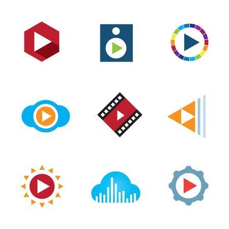 Play the video button cloud creative music logo icon tape Illustration