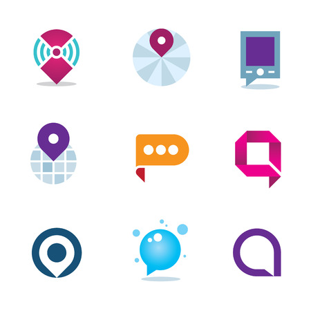 Global internet community in home system positioning logo icon Vector