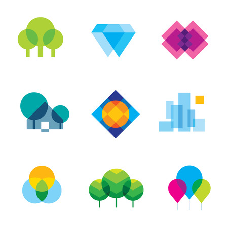 villages: Transparent city logo landscape beauty mosaic geometric icon set