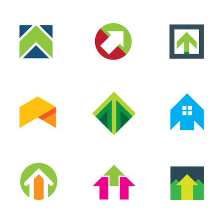 Progress success arrow up to innovation business creative logo icon Vector