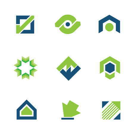 Golden green business success stock story market progress logo icon Vector