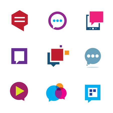 phone conversation: Social community share and interaction chat logo bubble message icon