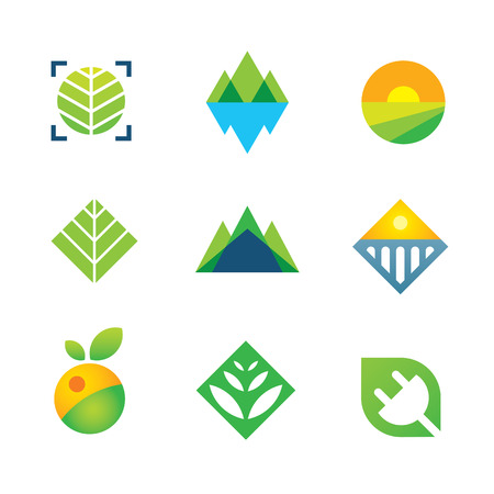 Nature verte sauvage capturé l'énergie pour l'avenir logo de génération icône Banque d'images - 28914184