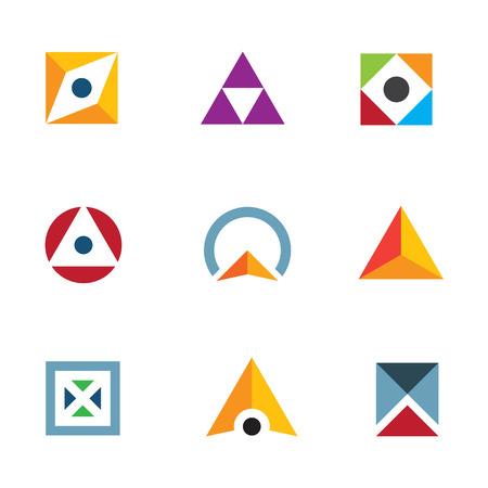 geometric shape: Geom�trica en forma de tri�ngulo y c�rculo cubo inspirador logo icono combinaci�n