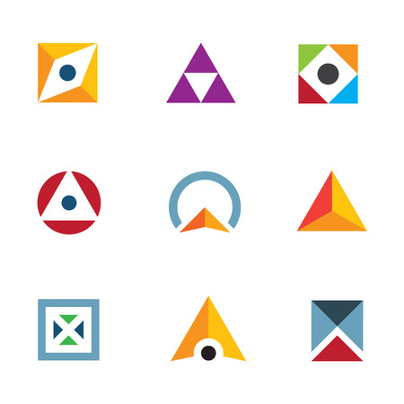 Geometric shape triangle circle and cube inspiring combination logo icon