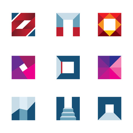 profesional: Geometric cube polygons creating walking to success professional logo icon