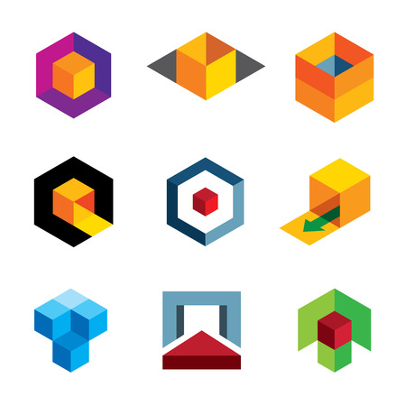 직업적인: 전문 회사 로고 아이콘을위한 창조적 인 3D 큐브 본체 일러스트
