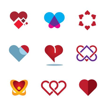 femme amoureuse: Coeur rouge diff�rentes formes femme symbole de l'amour fleur logo ic�ne