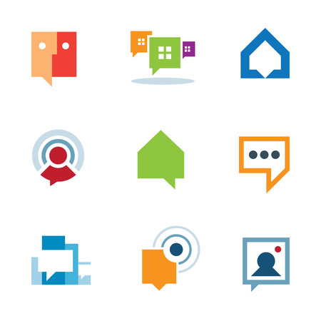 Personal social community conversation on internet network chat logo icon Vector