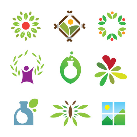 Olympic green success nature leaf landscape healthy care logo icon Vector