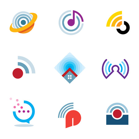 Ether world connectivity signal location positioning waves transmitting logo icons Vector