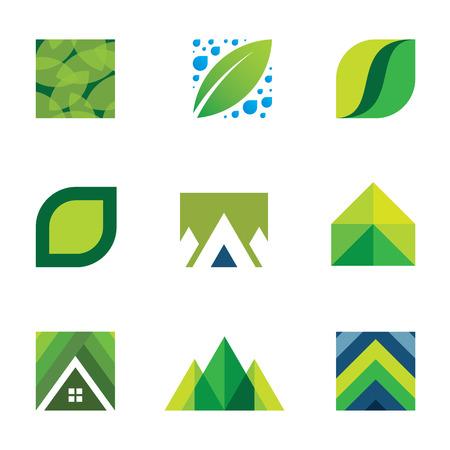 house energy: Green life creative set construction better life icons