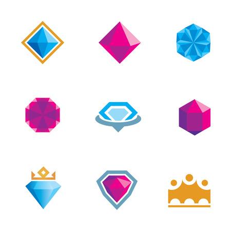 Royal luxury shine diamond gems symbol of king rocks  Vector