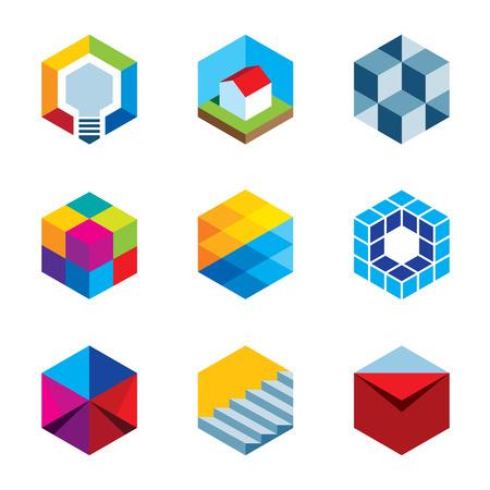 Innovatie gebouw toekomstige vastgoed virtuele game cube iconen