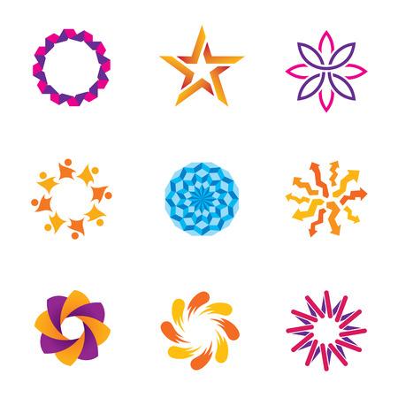 People abstract connected community spiral success circle icons Vector