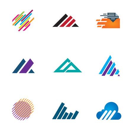 fast computer: Line inspiration professional design symbol fast triangle speed icons