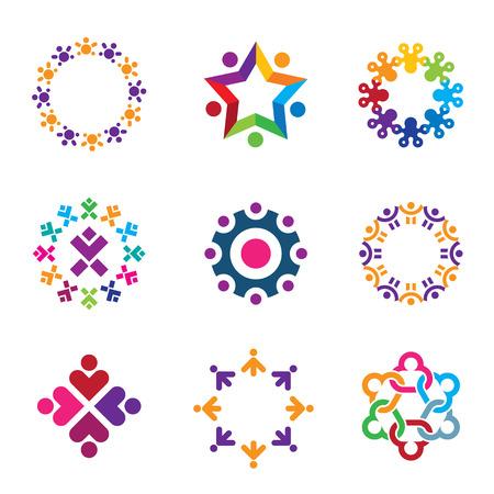 Social colorful world community people circle icons set