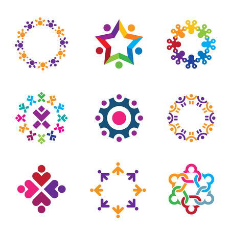 Social colorful world community people circle icons set