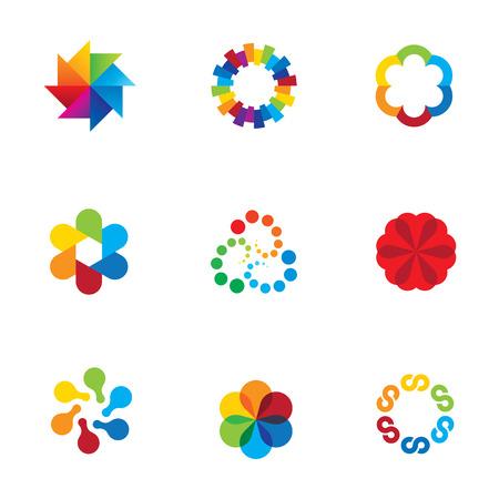 Abstract social partnership community company bond colorful app icons
