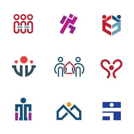 apoyo social: Ayudar a compartir la gente de la comunidad para la reconstrucción de la sociedad icon set Vectores