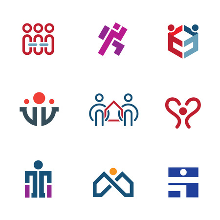 team building: Share people community help for rebuilding society icon set