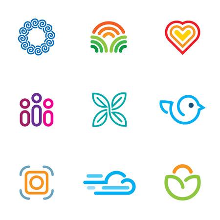 Simple line blog forum community fast download icon set Vector