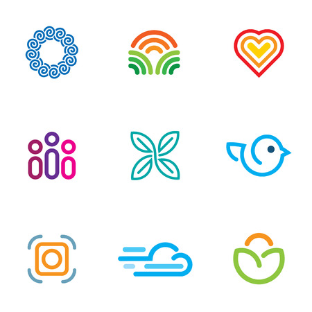 Simple line blog forum community fast download icon set Vector