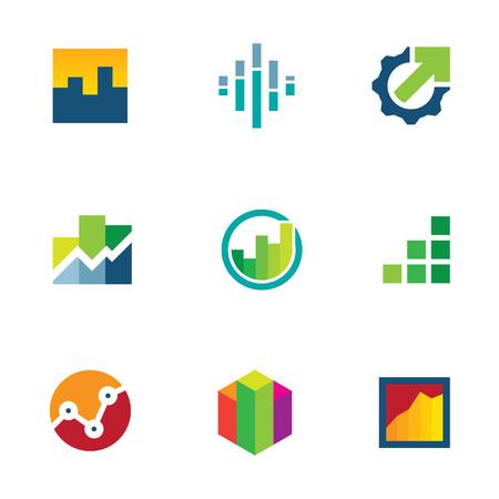 経済財務グラフ バー ビジネス生産性アイコンを設定  イラスト・ベクター素材