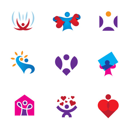 environmental awareness: Share love emotion heart shape environmental awareness icon set
