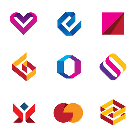 Creative business company tape line help care icon set Illustration